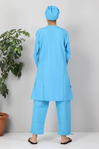 Eteği Şeritli Tesettür Mayo TSD8801 Mavi - Lacivert - Thumbnail