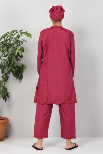 Eteği Şeritli Tesettür Mayo TSD8801 Pembe - Siyah - Thumbnail