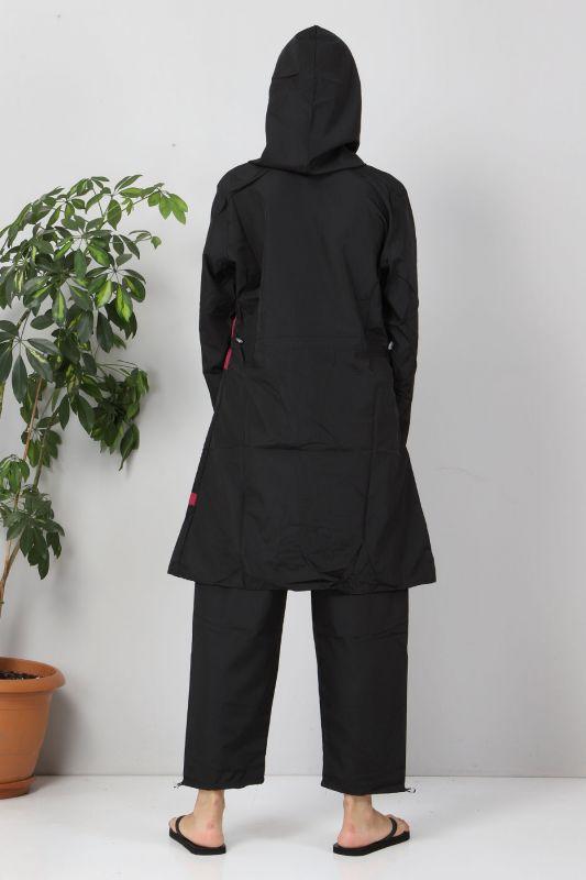 Eteği Şeritli Tesettür Mayo TSD8801 Siyah - Pembe