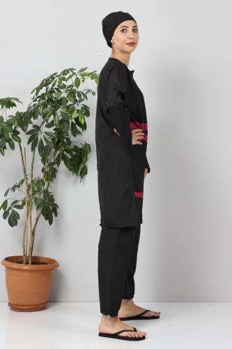 Eteği Şeritli Tesettür Mayo TSD8801 Siyah - Pembe - Thumbnail