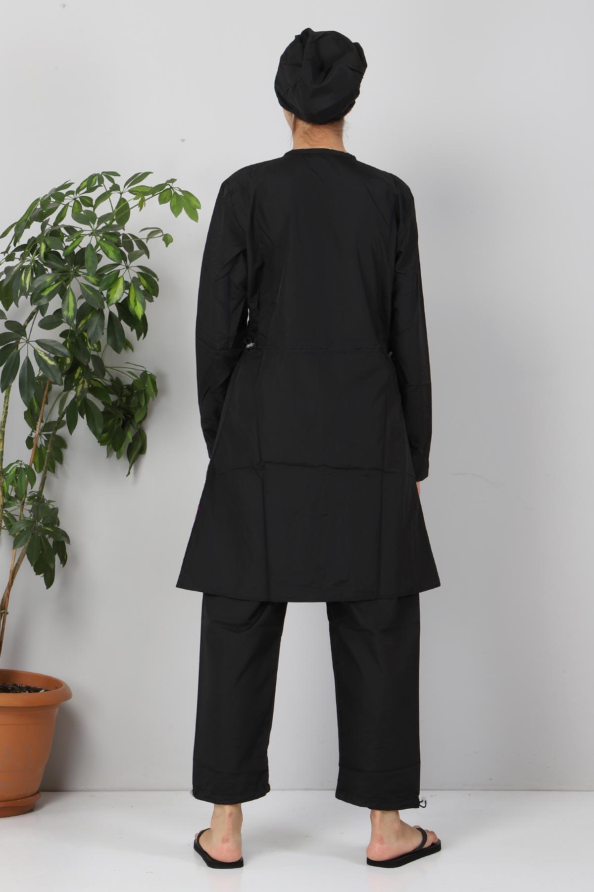 Eteği Şeritli Tesettür Mayo TSD8821 Siyah - Mor