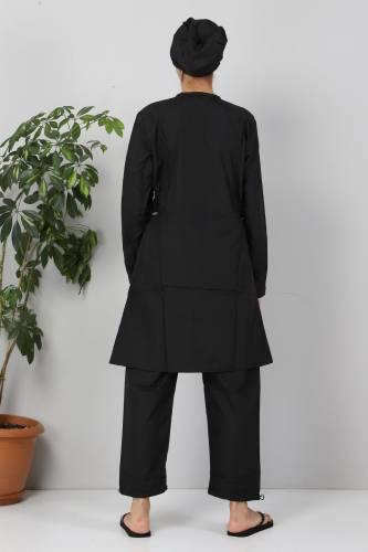 Eteği Şeritli Tesettür Mayo TSD8821 Siyah - Mor - Thumbnail