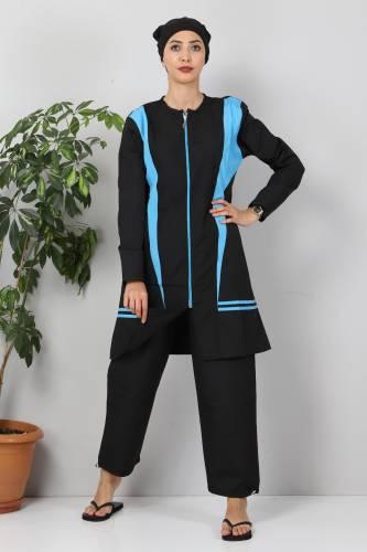 Tesettür Dünyası - Eteği Şeritli Tesettür Mayo TSD8827 Siyah - Mavi