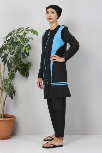 Tesettür Dünyası - Eteği Şeritli Tesettür Mayo TSD8827 Siyah - Mavi (1)