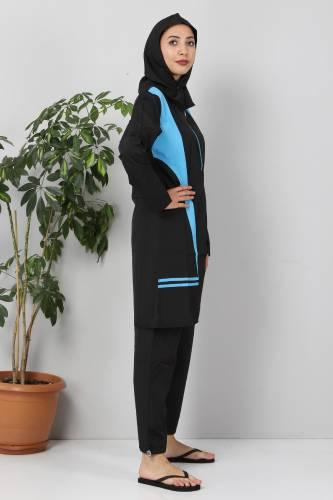 Eteği Şeritli Tesettür Mayo TSD8827 Siyah - Mavi - Thumbnail