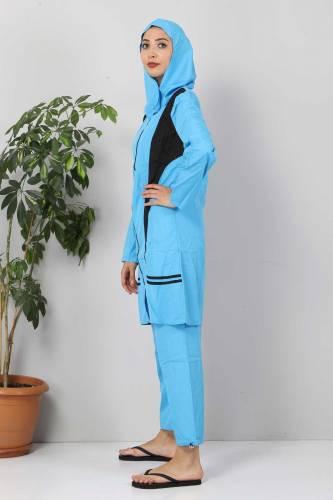 Eteği Şeritli Tesettür Mayo TSD8828 Mavi - Siyah - Thumbnail