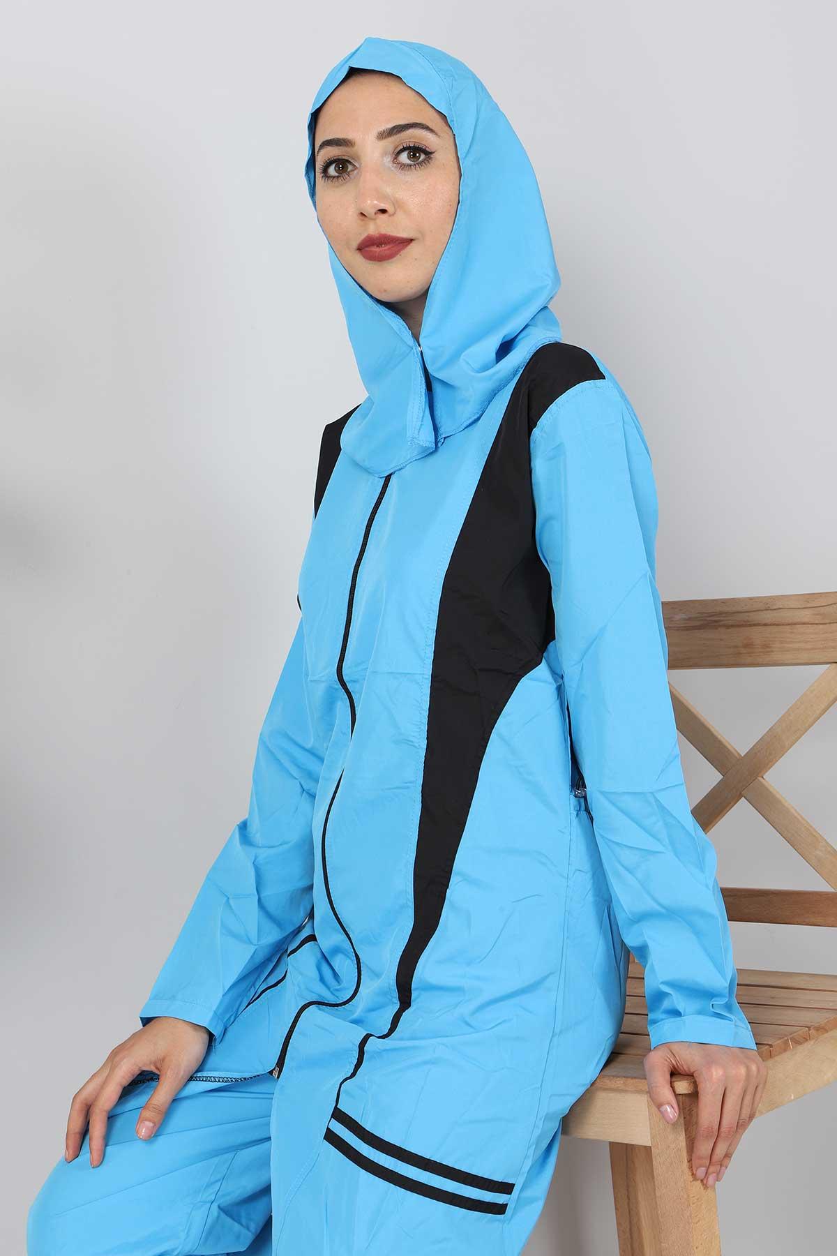Eteği Şeritli Tesettür Mayo TSD8828 Mavi - Siyah