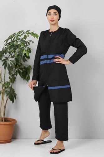Tesettür Dünyası - Striped Hijab Swimsuit TSD8850 Black - Indigo