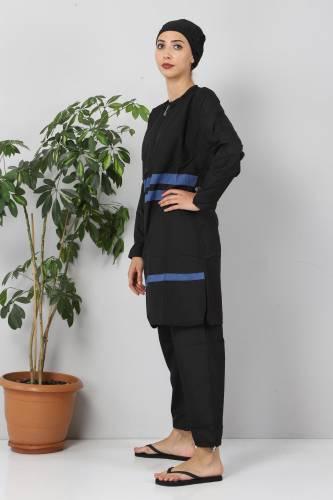 Tesettür Dünyası - Striped Hijab Swimsuit TSD8850 Black - Indigo (1)