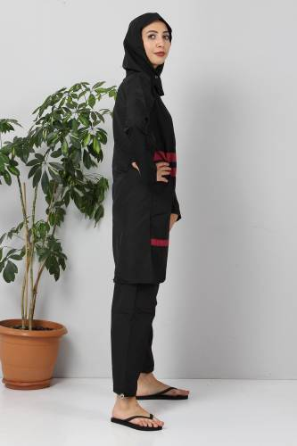 Tesettür Dünyası - Eteği Şeritli Tesettür Mayo TSD8852 Siyah - Fuşya (1)