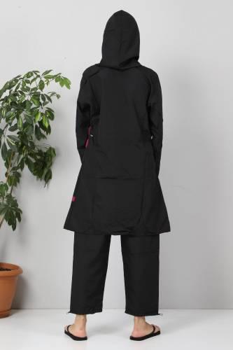 Eteği Şeritli Tesettür Mayo TSD8852 Siyah - Fuşya - Thumbnail