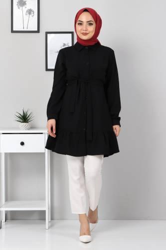 Tesettür Dünyası - Eteği Volan Detaylı Tunik TSD3311 Siyah