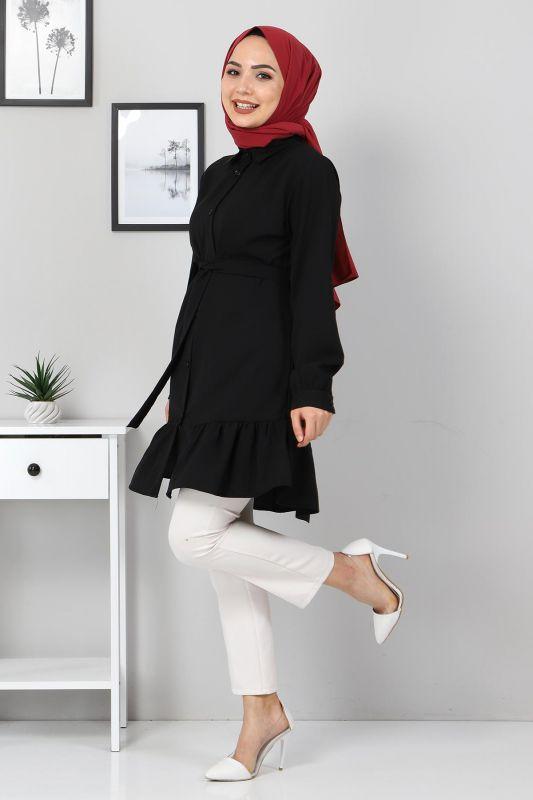 Eteği Volan Detaylı Tunik TSD3311 Siyah