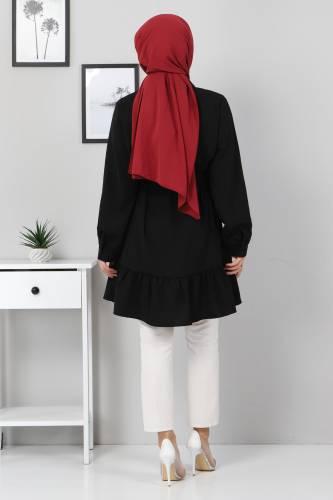 Eteği Volan Detaylı Tunik TSD3311 Siyah - Thumbnail
