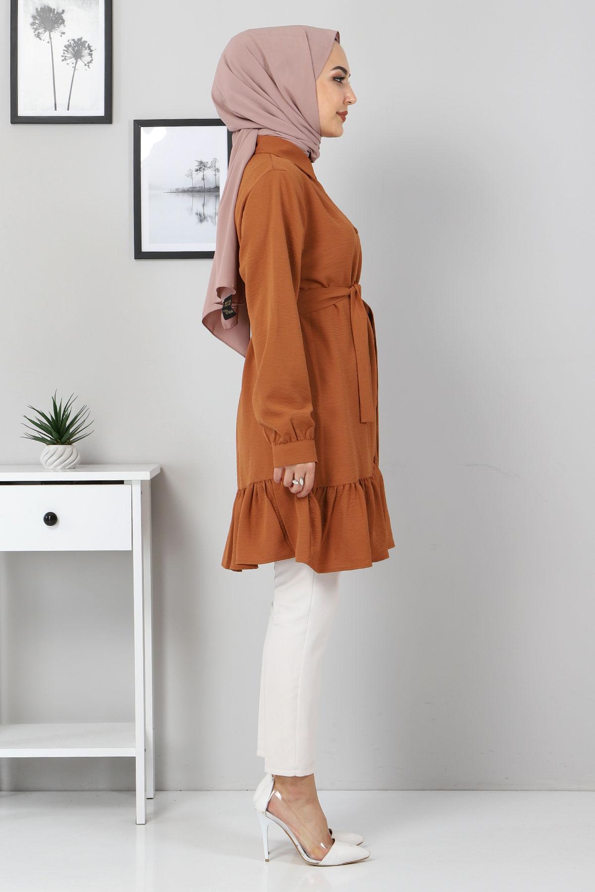 Eteği Volan Detaylı Tunik TSD3311 Taba