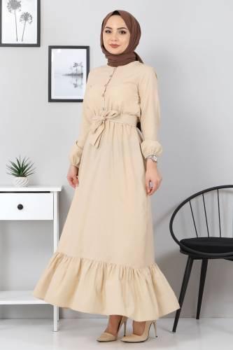 Eteği Volanlı Elbise TSD4407 Bej - Thumbnail