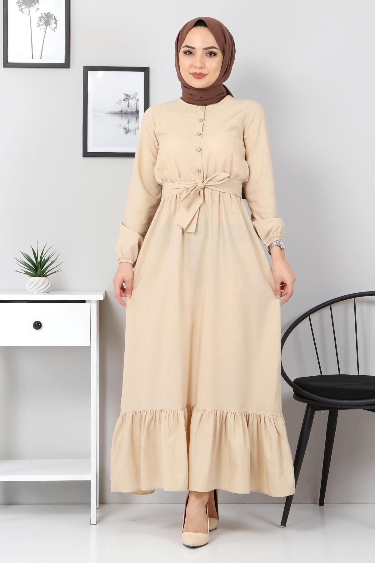 Eteği Volanlı Elbise TSD4407 Bej