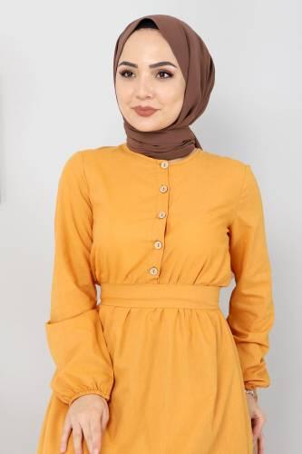 Eteği Volanlı Elbise TSD4407 Hardal - Thumbnail
