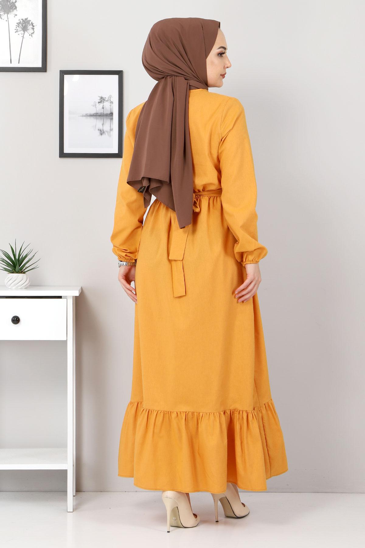 Eteği Volanlı Elbise TSD4407 Hardal