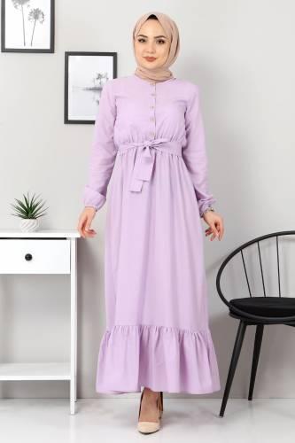 Tesettür Dünyası - Eteği Volanlı Elbise TSD4407 Lila