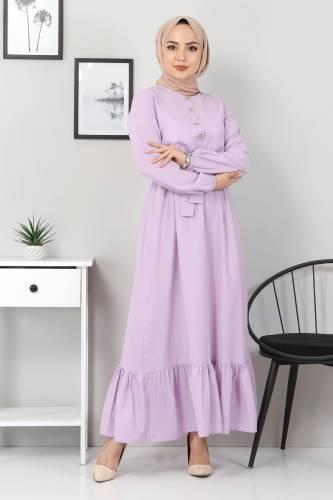 Tesettür Dünyası - Eteği Volanlı Elbise TSD4407 Lila (1)