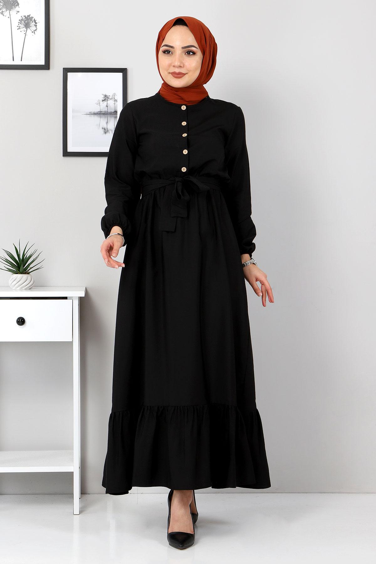Eteği Volanlı Elbise TSD4407 Siyah