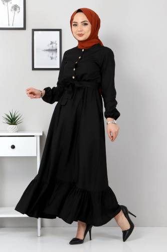 Eteği Volanlı Elbise TSD4407 Siyah - Thumbnail