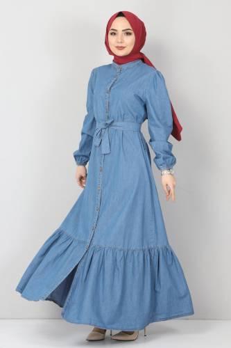 Tesettür Dünyası - Eteği Volanlı Kot Elbise TSD2202 Açık Mavi