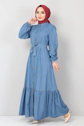 Tesettür Dünyası - Eteği Volanlı Kot Elbise TSD2202 Açık Mavi (1)