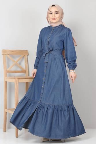 Tesettür Dünyası - Eteği Volanlı Kot Elbise TSD2202 Koyu Mavi