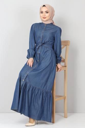 Tesettür Dünyası - Eteği Volanlı Kot Elbise TSD2202 Koyu Mavi (1)
