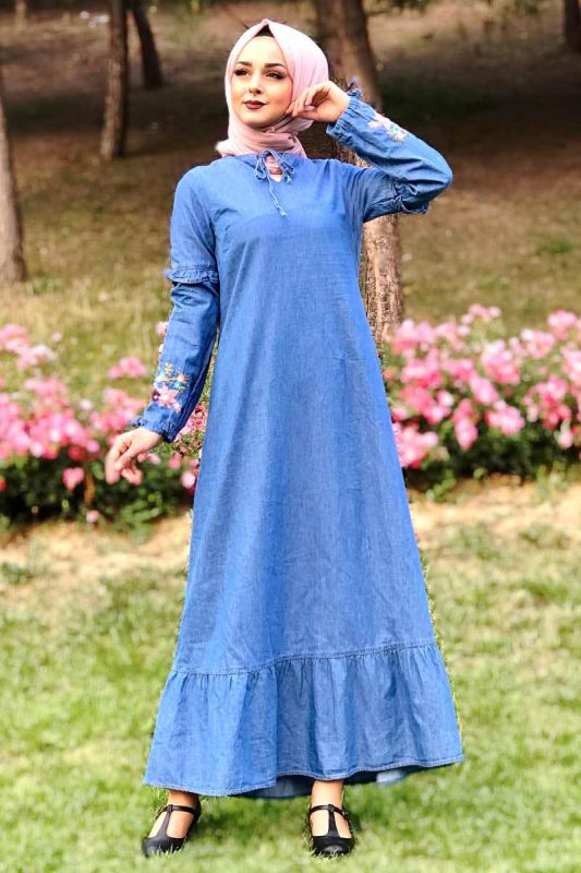 Eteği Volanlı Kot Elbise TSD6424 Açık
