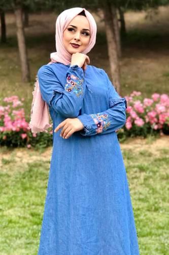 Eteği Volanlı Kot Elbise TSD6424 Açık - Thumbnail