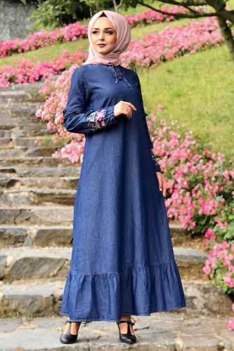 Tesettür Dünyası - Eteği Volanlı Kot Elbise TSD6424 Koyu