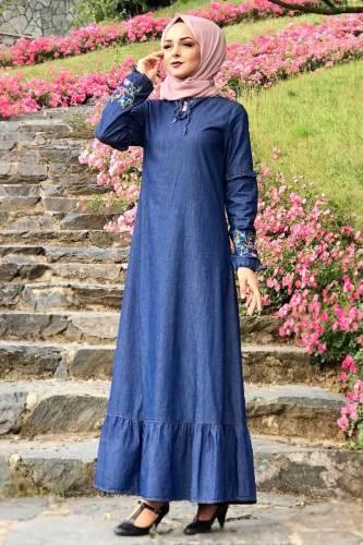 Eteği Volanlı Kot Elbise TSD6424 Koyu - Thumbnail