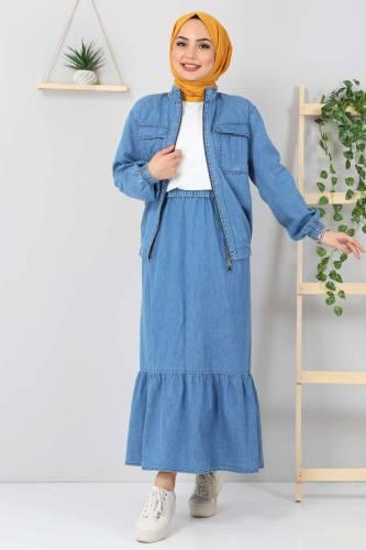 Tesettür Dünyası - Eteği Volanlı Kot Takım TSD2114 Açık Mavi