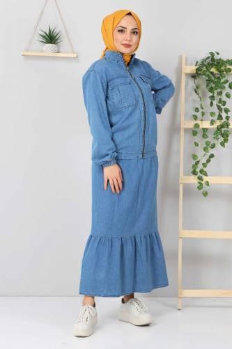 Eteği Volanlı Kot Takım TSD2114 Açık Mavi - Thumbnail