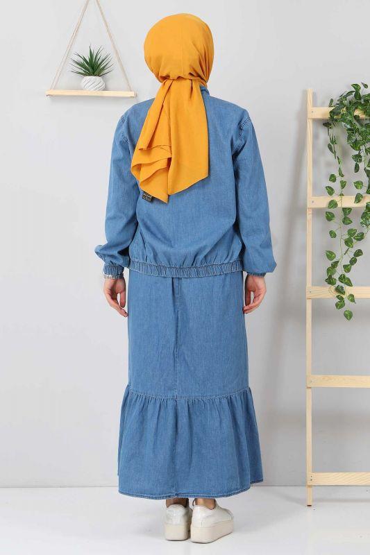 Eteği Volanlı Kot Takım TSD2114 Açık Mavi