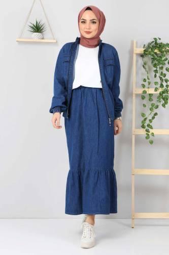 Tesettür Dünyası - Eteği Volanlı Kot Takım TSD2114 Koyu Mavi