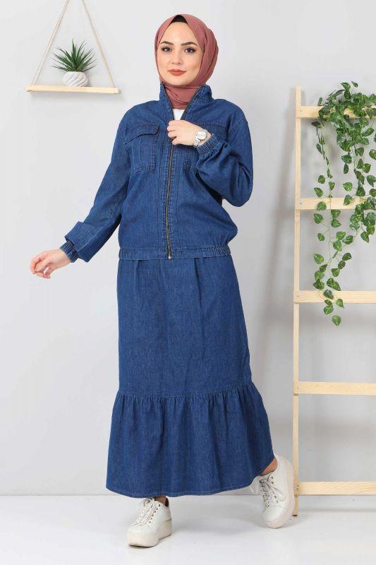 Eteği Volanlı Kot Takım TSD2114 Koyu Mavi