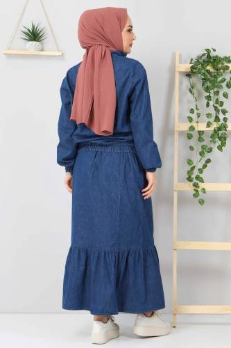 Eteği Volanlı Kot Takım TSD2114 Koyu Mavi - Thumbnail