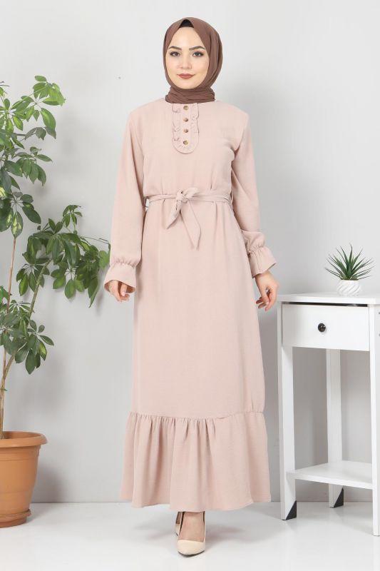 Eteği Volanlı Tesettür Elbise TSD4400 Bej