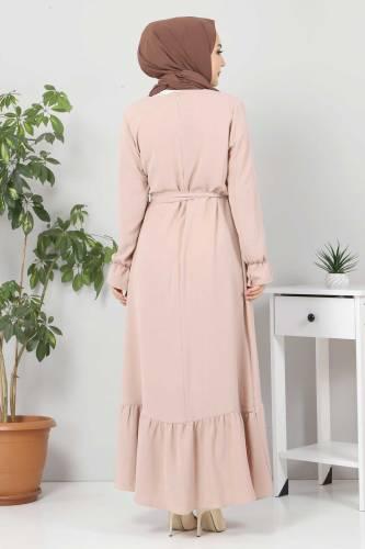 Eteği Volanlı Tesettür Elbise TSD4400 Bej - Thumbnail