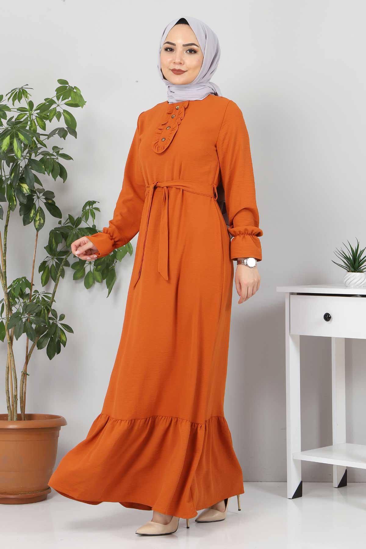 Eteği Volanlı Tesettür Elbise TSD4400 Kiremit