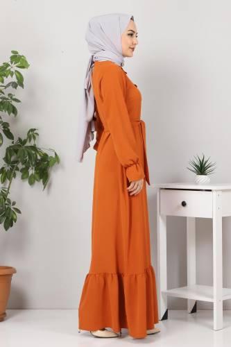 Eteği Volanlı Tesettür Elbise TSD4400 Kiremit - Thumbnail