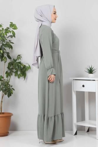 Eteği Volanlı Tesettür Elbise TSD4400 Mint - Thumbnail