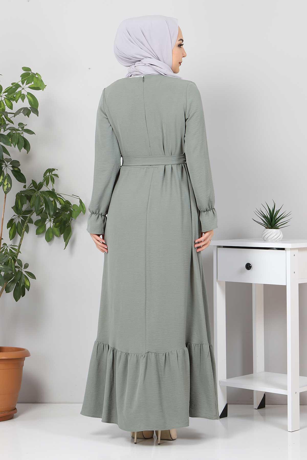 Eteği Volanlı Tesettür Elbise TSD4400 Mint