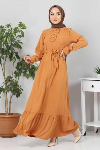 Eteği Volanlı Tesettür Elbise TSD4400 Tarçın - Thumbnail
