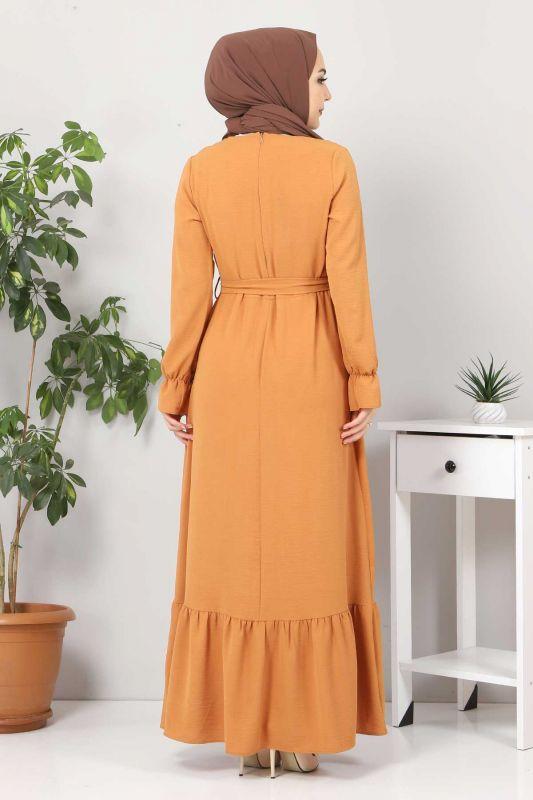 Eteği Volanlı Tesettür Elbise TSD4400 Tarçın