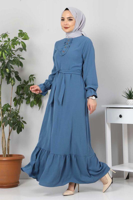 Eteği Volanlı Tesettür Elbise TSD4400 İndigo